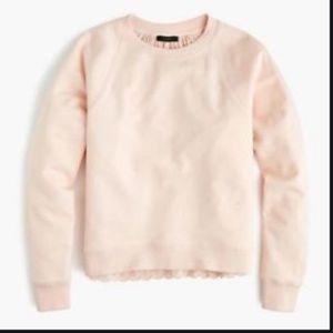 J. Crew Pink Eyelet-Back Crew Sweatshirt